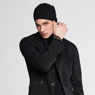 Knit black cap