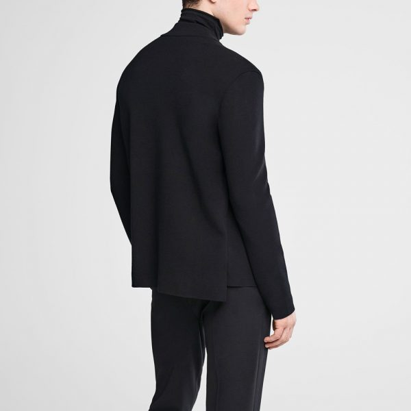 Cardigan with covered zipper and mock neck