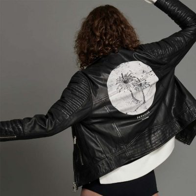 Midnight Paradise leather moto jacket