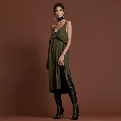 Khaki Tyler Ruffle Dress
