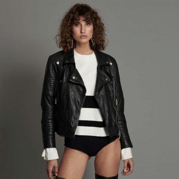 Midnight Paradise leather moto jacket