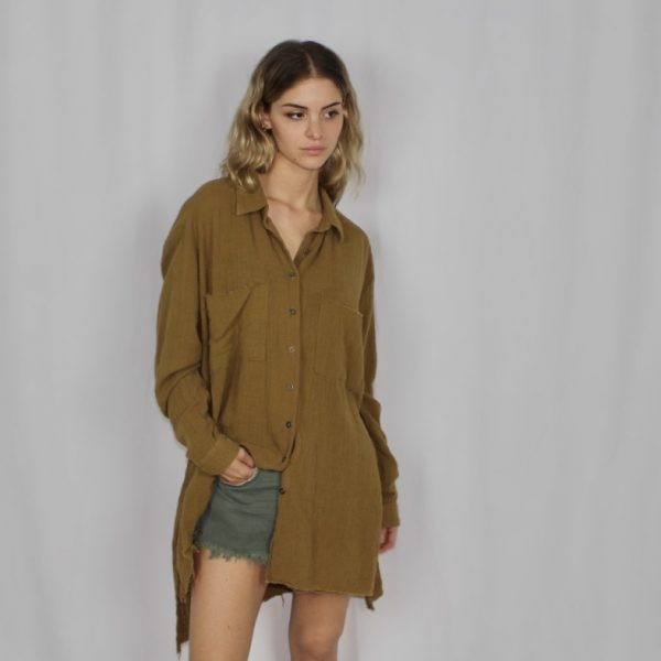 Muslin Cali tobacco shirt dress