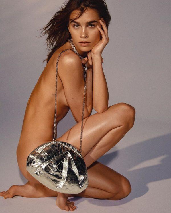 Saki piñatex silver bag