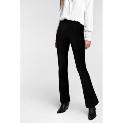 Rib velvet flared pants
