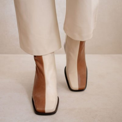 Botines South Bicolor Camel & Beige