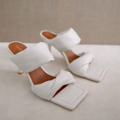 Twist Strap white sandal